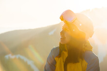 Smiling Woman Portrait In Ski Equipment Clothes
