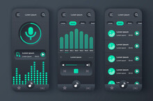 Music Player Unique Neomorphic Design Kit. Music App With Voice Recording, Graphic Equalizer And Compositions Playlist. Music Listening UI, UX Template Set. GUI For Responsive Mobile Application