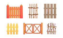 Wooden Fence Of Poles And Boards As Agricultural Structure Vector Set