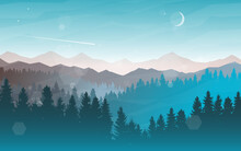 Sunset, Sunrise, Night, Morning In Mountains. Hiking Tourism. Adventure. Abstract Mountain Landscape. Banner With Polygonal Landscape Illustration. Minimalist Style Background. Flat Design.
