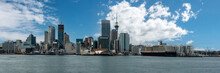 Panoramic View Of The Auckland Skyline From Seaside