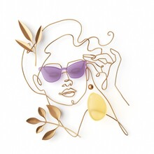 3d Render, Minimal Fashion Woman Portrait. Female Face Made Of Golden Wire And Leaves, Simple Linear Art Isolated On White Background