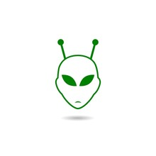 Alien Head Icon With Shadow
