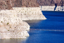 Record Low Water Level Of Shrinking Lake Mead, Key Reservoir Along Colorado River, Amid Severe Drought In The American West.