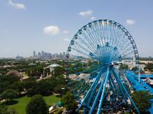 Dallas, Texas \ USA - 07-13-2021 Aerial Photo Dallas Fair Park State Fair Of Texas Ferris Wheel Downtown Dallas