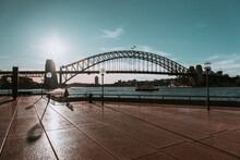 """""""Sydney, NSW / Australia - April 17, 2020: Sydney Opera House And Circular Quay Surroundings Completely Isolated And With Social Distancing Under Lockdown Due To Coronavirus Outbreak"""""""