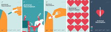 Vaccination. Set Of Vector Illustrations. Simple, Fun, Background Pictures About Vaccine Action, Immunity, Health.