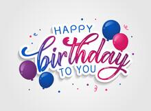 Happy Birthday Colorful Text