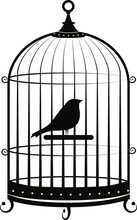 Silhouette Of A Bird In A Cage