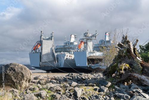 Two battleships parked near the rocky shoreline in Tacoma, Washington Fototapet
