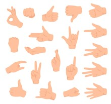 Hand Gestures Male Hand With Various Sign Ok Victory Like Dislike Counting Fingers Flat Set