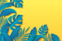 Tropical Leaves Background Paper Style