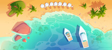 Sea Beach Top View, Tropical Ocean Coastline With Umbrella, Lounges, Moored Yachts, Palm Trees And Rocks In Blue Clean Turquoise Water. Sandy Shore Scenery Nature Landscape Cartoon Vector Illustration