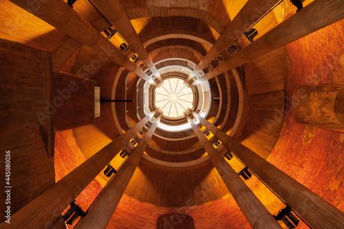 Fotografering Inside view upwards of church tower