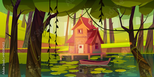Obraz na plátně Stilt house at forest swamp with moored wooden boat