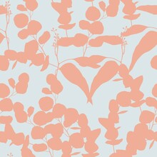 Seamless Floral Pattern With Many Kind Of Herbs And Eucaliptus Sihouette. Template Design For Textiles, Interior, Clothes, Wallpaper. Botanical Art.
