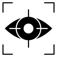 Eye Inside Reticle, Icon Of Iris Recognition