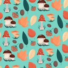 Seamless Pattern With Mushrooms And Autumn Leaves, Vector Illustration In Flat Style.
