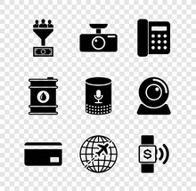 Set Lead Management, Car DVR, Telephone, Credit Card, Globe With Flying Plane And Contactless Payment Icon. Vector