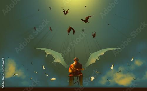 Billede på lærred Digital illustration painting design style a man as devil playing guitar, against demons and sheet music papers