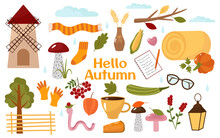 Cozy Collection, Hello Autumn. Cartoon Pictures Pumpkin, Mill, Mushrooms, Coffee, Hay, Wheat, Wood, Socks, Scarf. Vector Illustration. For Design Or Decoration