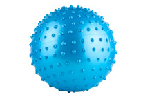 Blue Gymnastic Massage Ball With Thorns For Fitness, On A White Background, Isolated. Sports Equipment Concept