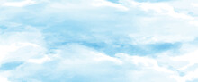 Blue Watercolor Background In The Form Of A Cloudy Sky For Postcards, Banners, Posters And Creative Design