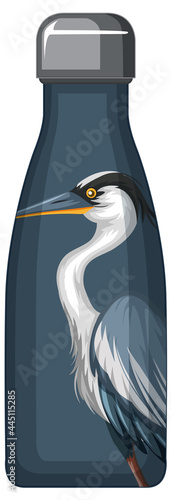 Photographie A thermos bottle with blue pelican pattern