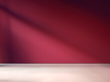3D Rendering Of Empty Room For Advertisement. Wooden Floor And Burgundy Red Wall.