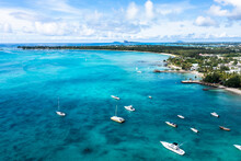 Aerial View, Beaches With Luxury Hotels With Water Sports At Trou-aux-Biches Pamplemousses Region, Behind Grand Baie, Mauritius, Africa