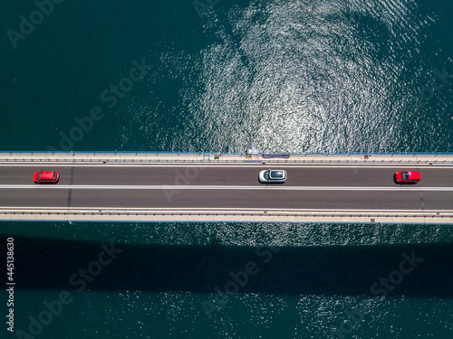 Fotografia, Obraz Aerial view of Sibenski Most, croatian bridge