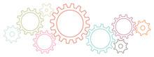 Grafische Zahnräder Banner Kontur Retrofarben