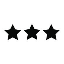 Vector Illustration Of Three Black Stars Icon For Military Awards And Rankings.