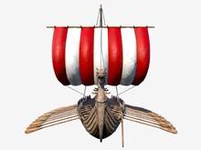 Isolated Viking Ship On White Background 3D Illustration