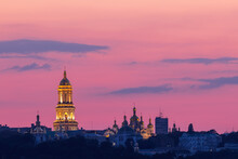 The Kyiv Pechersk Lavra Is One Of The Best Known And Most Popular Of The Capital's Sights At Sunset.