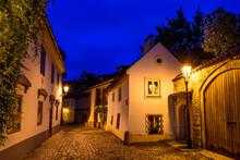 Novy Svet In The Historical City Center Of Prague In Hradcany During The Blue Hour.