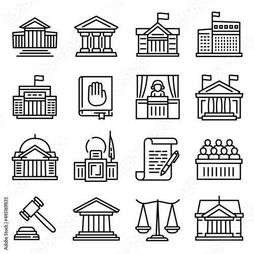 Obraz na plátně Courthouse icons set