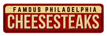 """""""Cheesesteaks"""" Vintage Sign Isolated On White Background, Vector Illustration"""