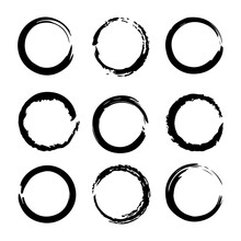 Collection Of Grunge Circles Shapes. Vector
