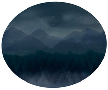 Night Starry Sky And Mountain Landscape. Hand Drawn Watercolor Picturesque Landscape Of Evening Mountain, Forest And Lake View. Camping Scenic Painting. Wall Painting. Mountains Illustration.