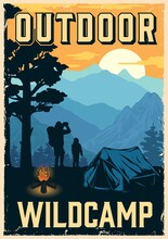 Camping Vintage Colorful Poster