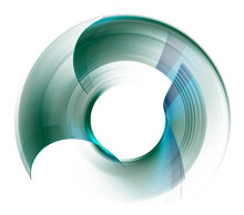 The Dark Turquoise Transparent Arcuate Elements Rotate To Create A Circular Frame On A White Background. Graphic Design Element. Logo, Symbol, Sign, Icon. 3d Rendering. 3d Illustration.