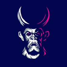 Devil Demon Man Angry Face Logo. Colorful Design With Dark Background. Abstract Vector Illustration
