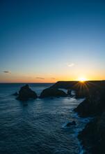 Sunset Over The Sea At Kynance Cove , Cornwall ,U.K