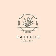 Cattail Grass Line Art Logo Vector Symbol Illustration Design, River Tree Minimal Logo Design