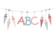 Bogen Hängende Schultüten & ABC Mädchen Retrofarben