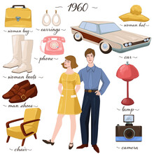 Fashion And Clothes, Furniture And Objects Of 60s