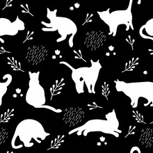 Seamless Pattern With White Cats Silhouettes On Black Background. Cute Kittens.Feline In Different Poses.Animals Sit,lay,relax.Childish Monochrome Print,wrapping Paper.Modern Drawing With Domestic Pet
