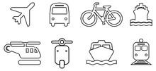 Black White Transport Line Icons