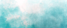 Blue Green Sea Sky Gradient Watercolor Background With Clouds Texture